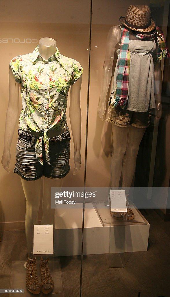 Shorts are displayed at the Pramod store at Select Citywalk in New Delhi on May 26, 2010.