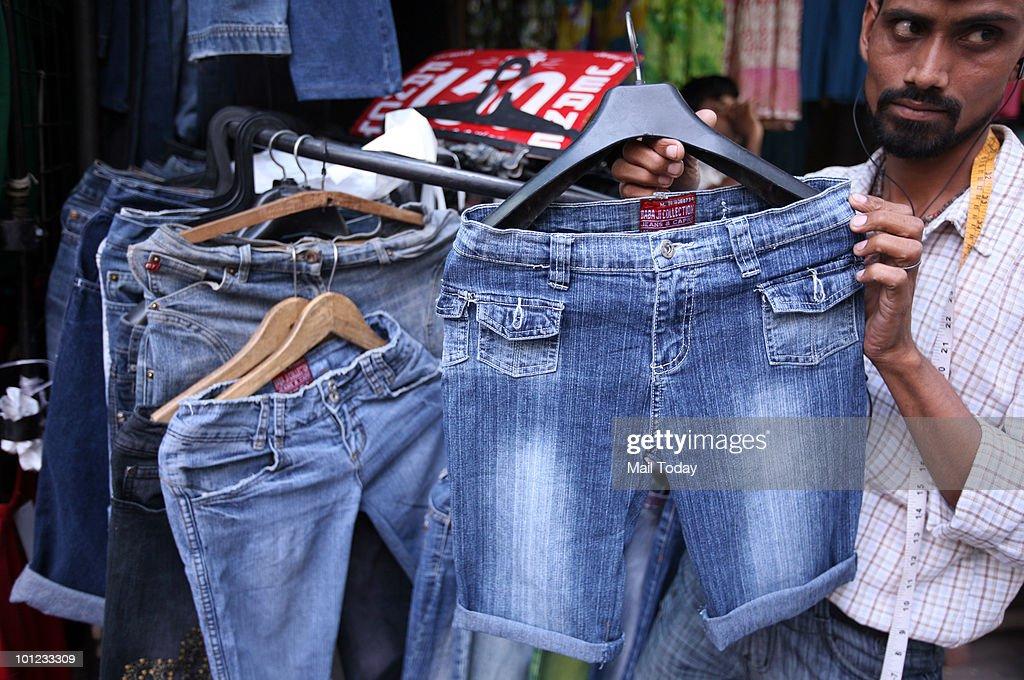 Shorts are displayed at the Sarojini nagar market in New Delhi on May 26, 2010.