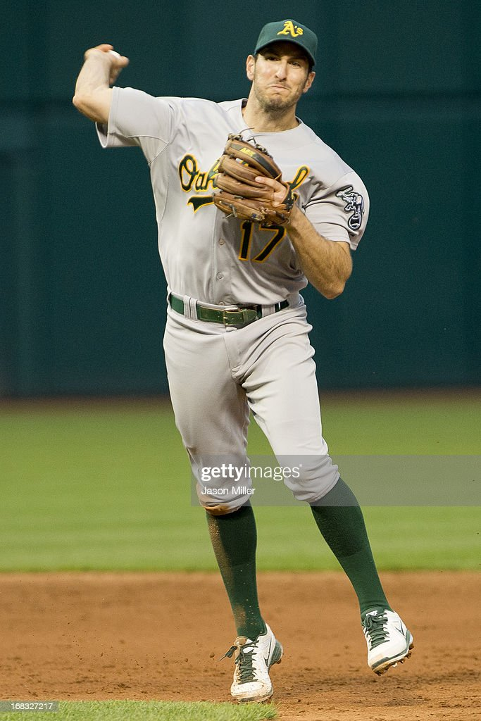 Shortstop <a gi-track='captionPersonalityLinkClicked' href=/galleries/search?phrase=Adam+Rosales&family=editorial&specificpeople=4921731 ng-click='$event.stopPropagation()'>Adam Rosales</a> #17 of the Oakland Athletics throws to first during the fifth inning against the Cleveland Indians at Progressive Field on May 8, 2013 in Cleveland, Ohio.