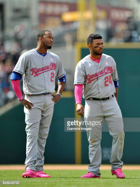 Shortstop Alcides Escobar and secondbaseman Christian Colon of the Kansas City Royals stand on the field before the top of the eighth inning of a...
