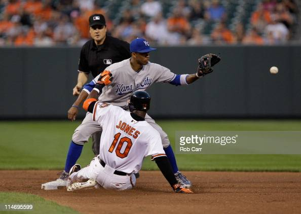 Shortstop Alcides Escobar of the Kansas City Royals waits for the throw as Adam Jones of the Baltimore Orioles slides safely into second base for a...