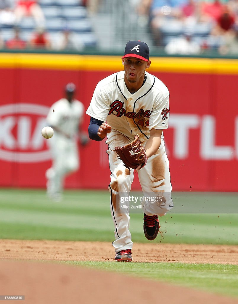 Shortstop <a gi-track='captionPersonalityLinkClicked' href=/galleries/search?phrase=Andrelton+Simmons&family=editorial&specificpeople=8978424 ng-click='$event.stopPropagation()'>Andrelton Simmons</a> #19 of the Atlanta Braves fields a ground ball against the Arizona Diamondbacks at Turner Field on June 30, 2013 in Atlanta, Georgia.