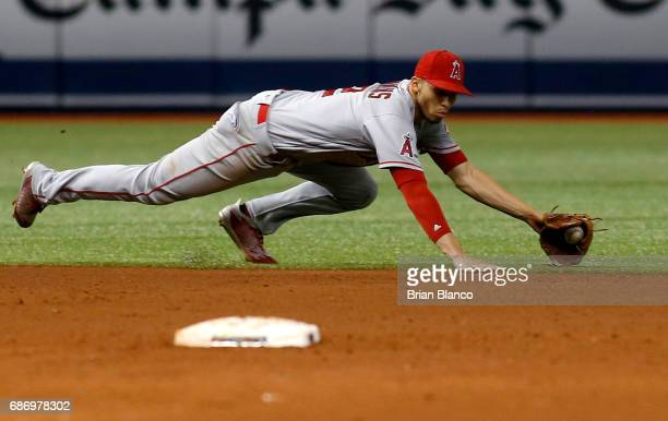 Shortstop Andrelton Simmons of the Los Angeles Angels fields the ground out by Evan Longoria of the Tampa Bay Rays during the sixth inning of a game...