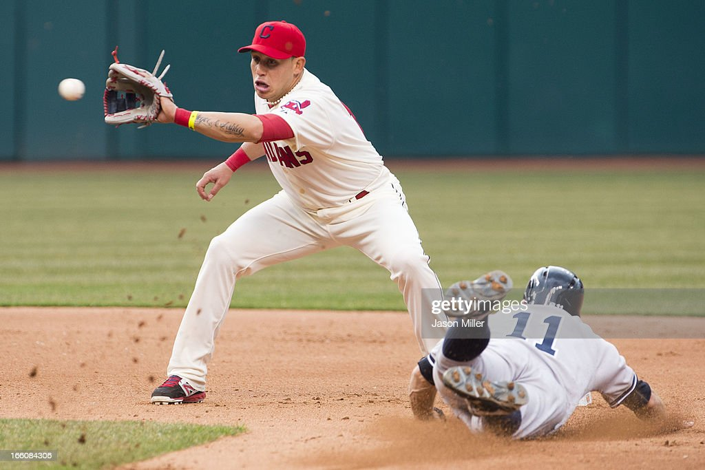 Shortstop <a gi-track='captionPersonalityLinkClicked' href=/galleries/search?phrase=Asdrubal+Cabrera&family=editorial&specificpeople=834042 ng-click='$event.stopPropagation()'>Asdrubal Cabrera</a> #13 of the Cleveland Indians caught <a gi-track='captionPersonalityLinkClicked' href=/galleries/search?phrase=Brett+Gardner&family=editorial&specificpeople=4172518 ng-click='$event.stopPropagation()'>Brett Gardner</a> #11 of the New York Yankees stealing second on this play in the fourth inning on opening day at Progressive Field on April 8, 2013 in Cleveland, Ohio.