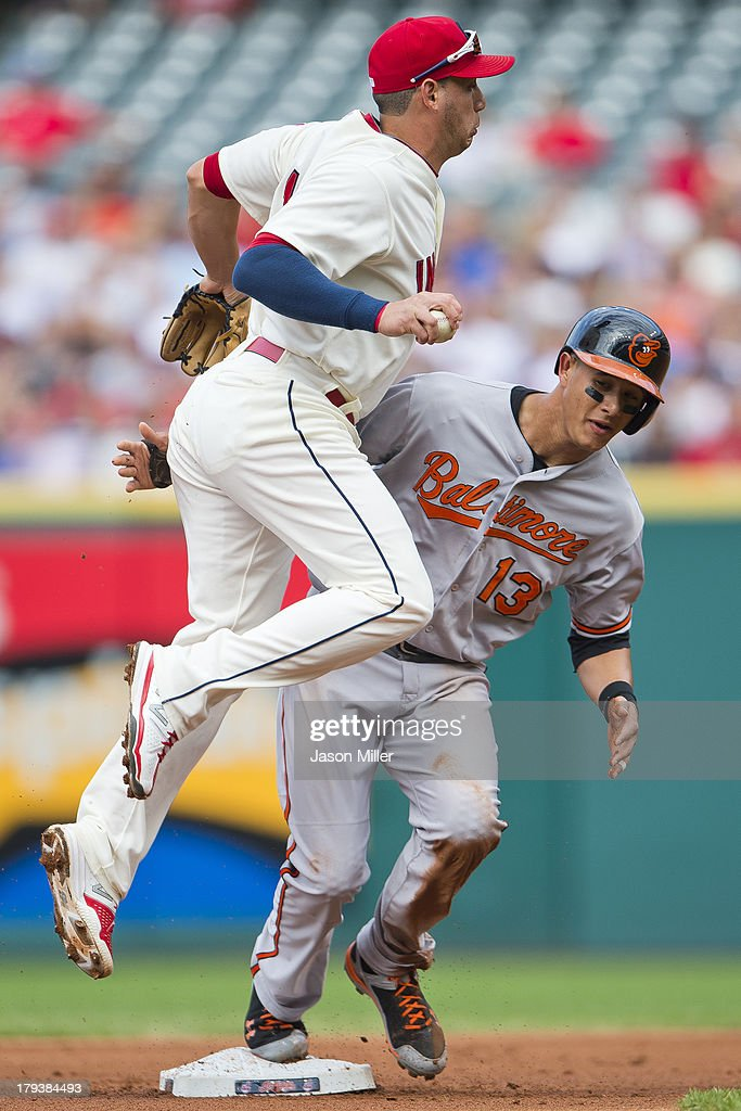 Shortstop <a gi-track='captionPersonalityLinkClicked' href=/galleries/search?phrase=Asdrubal+Cabrera&family=editorial&specificpeople=834042 ng-click='$event.stopPropagation()'>Asdrubal Cabrera</a> #13 of the Cleveland Indians runs into <a gi-track='captionPersonalityLinkClicked' href=/galleries/search?phrase=Manny+Machado&family=editorial&specificpeople=5591039 ng-click='$event.stopPropagation()'>Manny Machado</a> #13 of the Baltimore Orioles after taging him out during the first inning at Progressive Field on September 2, 2013 in Cleveland, Ohio.
