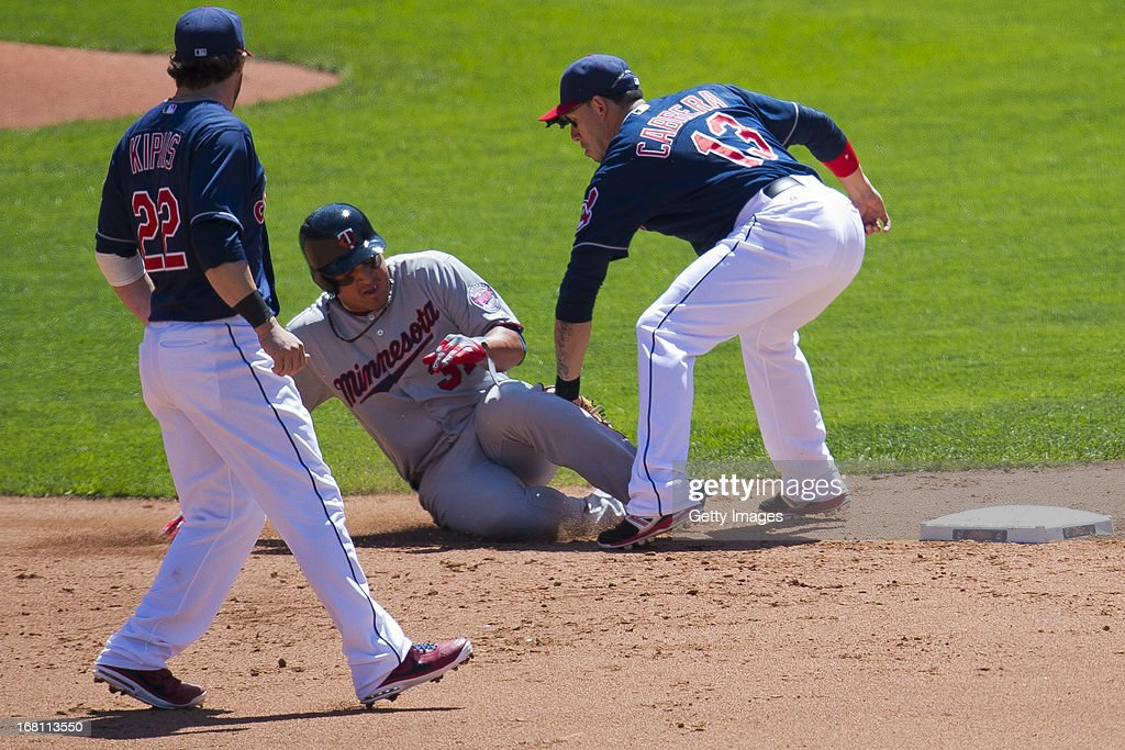 shortstop <a gi-track='captionPersonalityLinkClicked' href=/galleries/search?phrase=Asdrubal+Cabrera&family=editorial&specificpeople=834042 ng-click='$event.stopPropagation()'>Asdrubal Cabrera</a> #13 of the Cleveland Indians tags out <a gi-track='captionPersonalityLinkClicked' href=/galleries/search?phrase=Oswaldo+Arcia&family=editorial&specificpeople=8948415 ng-click='$event.stopPropagation()'>Oswaldo Arcia</a> #31 of the Minnesota Twins stealing second as second baseman <a gi-track='captionPersonalityLinkClicked' href=/galleries/search?phrase=Jason+Kipnis&family=editorial&specificpeople=5330784 ng-click='$event.stopPropagation()'>Jason Kipnis</a> #22 of the Cleveland Indians provides backup during the fifth inning at Progressive Field on May 5, 2013 in Cleveland, Ohio. The Twins defeated the Indians 4-2.