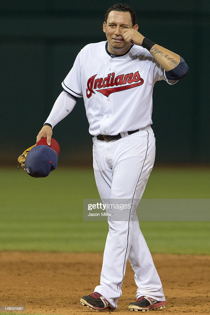 Shortstop <a gi-track='captionPersonalityLinkClicked' href=/galleries/search?phrase=Asdrubal+Cabrera&family=editorial&specificpeople=834042 ng-click='$event.stopPropagation()'>Asdrubal Cabrera</a> #13 of the Cleveland Indians teases the Detroit Tigers bench during the ninth inning at Progressive Field on July 25, 2012 in Cleveland, Ohio. The Tigers defeated the Indians 5-3.