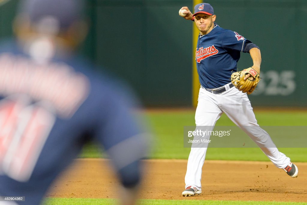 Shortstop Asdrubal Cabrera of the Cleveland Indians throws out James Jones of the Seattle Mariners at first base during the sixth inning at...