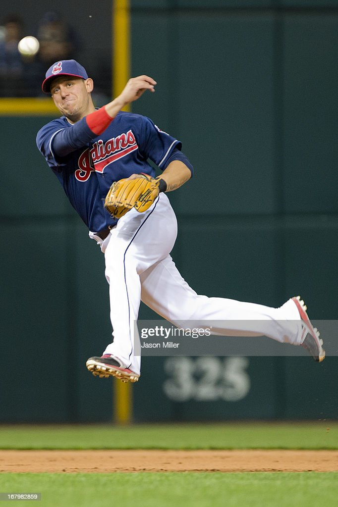 Shortstop <a gi-track='captionPersonalityLinkClicked' href=/galleries/search?phrase=Asdrubal+Cabrera&family=editorial&specificpeople=834042 ng-click='$event.stopPropagation()'>Asdrubal Cabrera</a> #13 of the Cleveland Indians throws out Trevor Plouffe #24 of the Minnesota Twins to end the top of the seventh inning at Progressive Field on May 3, 2013 in Cleveland, Ohio.