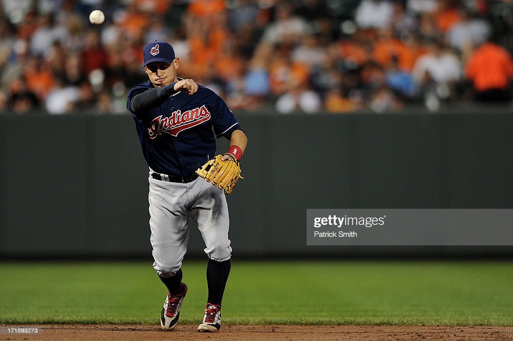 Shortstop <a gi-track='captionPersonalityLinkClicked' href=/galleries/search?phrase=Asdrubal+Cabrera&family=editorial&specificpeople=834042 ng-click='$event.stopPropagation()'>Asdrubal Cabrera</a> #13 of the Cleveland Indians throws to first base to make an out on Danny Valencia #35 of the Baltimore Orioles (not pictured) in the third inning at Oriole Park at Camden Yards on June 26, 2013 in Baltimore, Maryland.