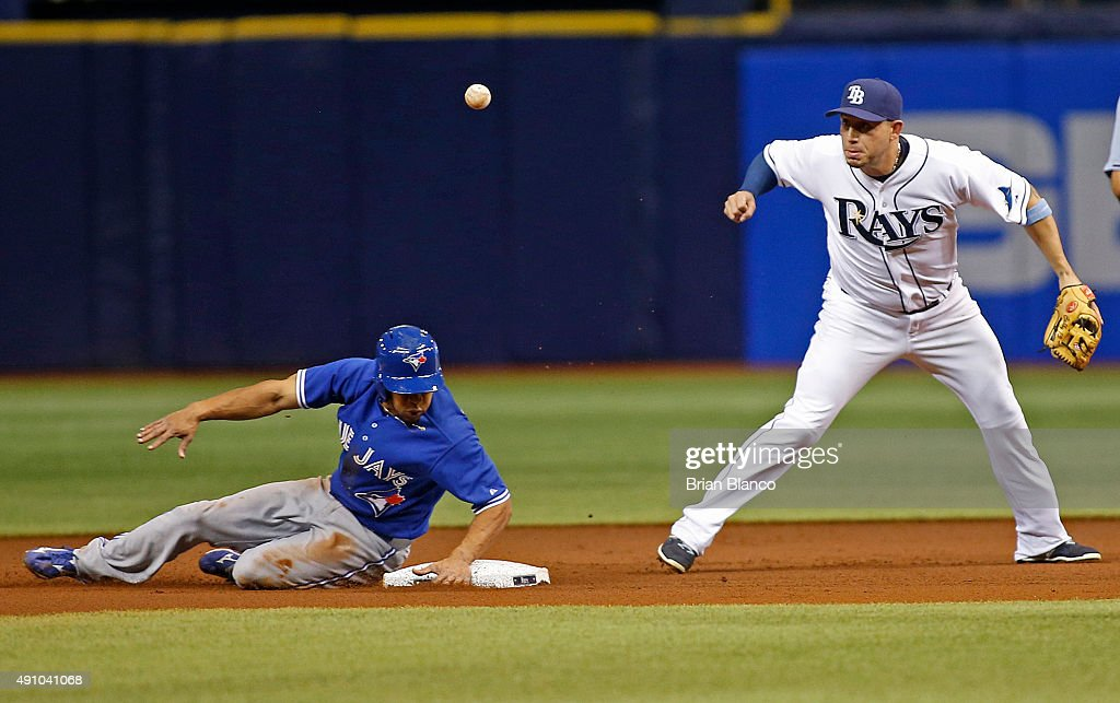 Shortstop Asdrubal Cabrera of the Tampa Bay Rays loses the ball after getting the forced out at second base on Ben Revere of the Toronto Blue Jays...
