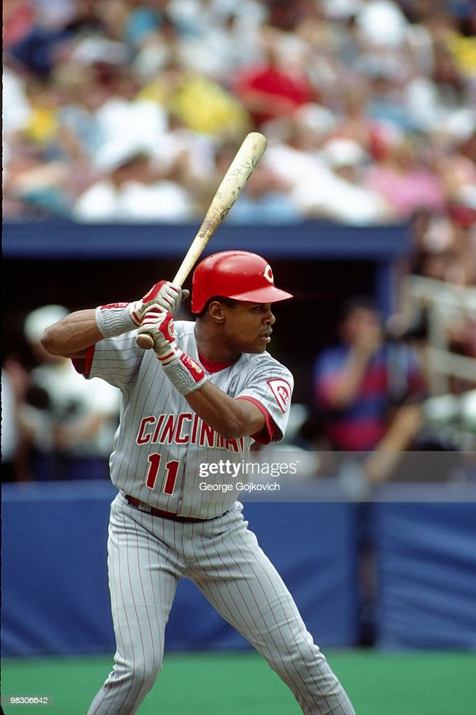 Shortstop <a gi-track='captionPersonalityLinkClicked' href=/galleries/search?phrase=Barry+Larkin&family=editorial&specificpeople=204522 ng-click='$event.stopPropagation()'>Barry Larkin</a> #11 of the Cincinnati Reds bats against the Pittsburgh Pirates during a Major League Baseball game at Three Rivers Stadium in 1994 in Pittsburgh, Pennsylvania.