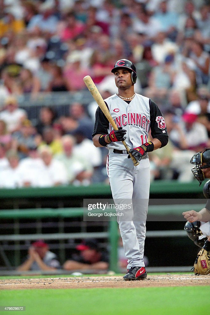 Shortstop <a gi-track='captionPersonalityLinkClicked' href=/galleries/search?phrase=Barry+Larkin&family=editorial&specificpeople=204522 ng-click='$event.stopPropagation()'>Barry Larkin</a> #11 of the Cincinnati Reds looks on from the field before batting during a Major League Baseball game against the Pittsburgh Pirates at PNC Park in 2003 in Pittsburgh, Pennsylvania.