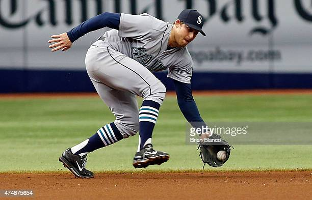 Shortstop Brad Miller of the Seattle Mariners fields the ground out by Evan Longoria of the Tampa Bay Rays during the fourth inning of a game on May...