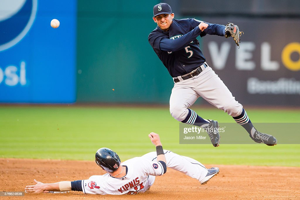 Shortstop <a gi-track='captionPersonalityLinkClicked' href=/galleries/search?phrase=Brad+Miller+-+Baseball+Player&family=editorial&specificpeople=14752161 ng-click='$event.stopPropagation()'>Brad Miller</a> #5 of the Seattle Mariners throws over <a gi-track='captionPersonalityLinkClicked' href=/galleries/search?phrase=Jason+Kipnis&family=editorial&specificpeople=5330784 ng-click='$event.stopPropagation()'>Jason Kipnis</a> #22 of the Cleveland Indians to get out Carlos Santana at first base for the double play during the third inning at Progressive Field on June 10, 2015 in Cleveland, Ohio.