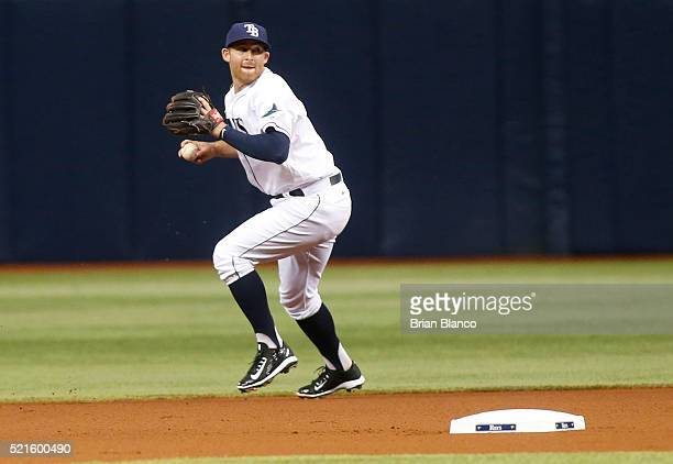 Shortstop Brad Miller of the Tampa Bay Rays fields the single by Adam Eaton of the Chicago White Sox during the first inning of a game on April 16...