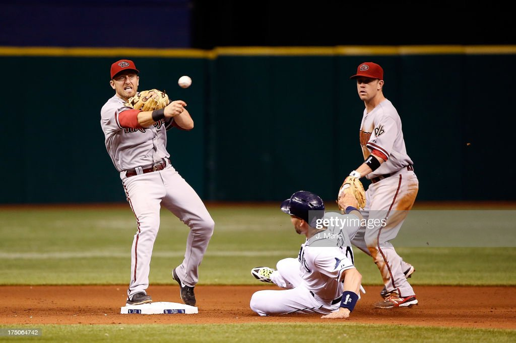 Shortstop Cliff Pennington of the Arizona Diamondbacks turns a double play as Luke Scott of the Tampa Bay Rays attempts to break it up during the...