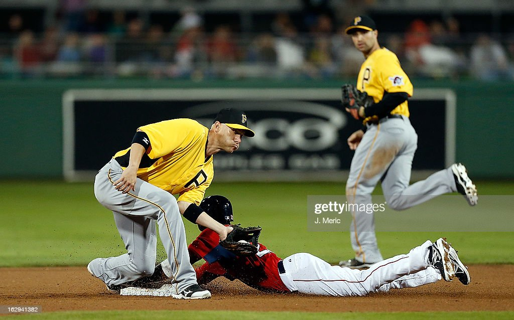 Shortstop <a gi-track='captionPersonalityLinkClicked' href=/galleries/search?phrase=Clint+Barmes&family=editorial&specificpeople=208223 ng-click='$event.stopPropagation()'>Clint Barmes</a> #12 of the Pittsburgh Pirates is late with the tag as <a gi-track='captionPersonalityLinkClicked' href=/galleries/search?phrase=Pedro+Ciriaco&family=editorial&specificpeople=5718591 ng-click='$event.stopPropagation()'>Pedro Ciriaco</a> #23 of the Boston Red Sox steals second base during a Grapefruit League Spring Training Game at JetBlue Park on March 1, 2013 in Fort Myers, Florida.