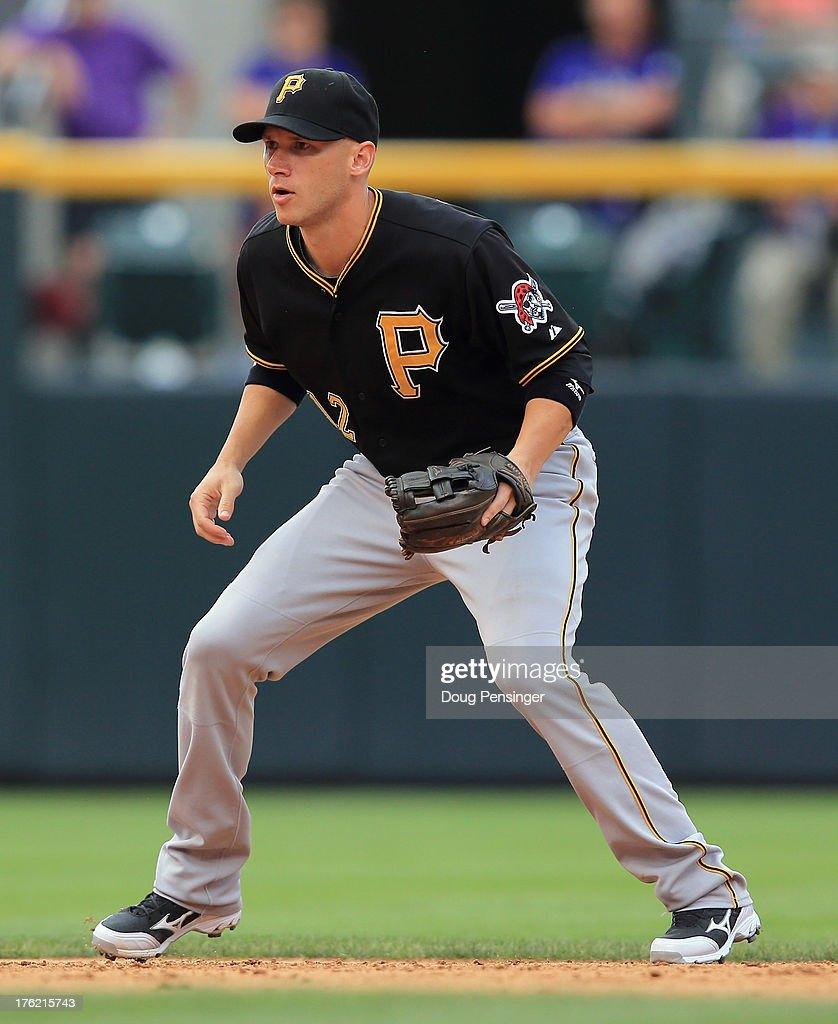 Shortstop <a gi-track='captionPersonalityLinkClicked' href=/galleries/search?phrase=Clint+Barmes&family=editorial&specificpeople=208223 ng-click='$event.stopPropagation()'>Clint Barmes</a> #12 of the Pittsburgh Pirates plays defense against the Colorado Rockies at Coors Field on August 11, 2013 in Denver, Colorado. The Rockies defeated the Pirates 3-2 and swept the three game series.