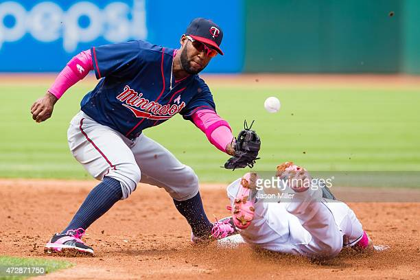 Shortstop Danny Santana of the Minnesota Twins drops the throw as Jason Kipnis of the Cleveland Indians steals second during the second inning at...