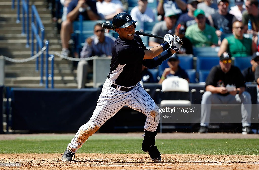 Shortstop <a gi-track='captionPersonalityLinkClicked' href=/galleries/search?phrase=Derek+Jeter&family=editorial&specificpeople=167125 ng-click='$event.stopPropagation()'>Derek Jeter</a> #2 of the New York Yankees bats against the Miami Marlins during a Grapefruit League Spring Training Game at George M. Steinbrenner Field on March 15, 2013 in Tampa, Florida.