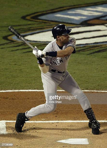 Shortstop Derek Jeter of the New York Yankees is at bat during game five of the Major League Baseball World Series against the Florida Marlins on...
