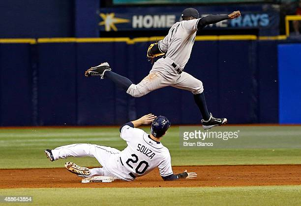 Shortstop Didi Gregorius of the New York Yankees gets the out at second base on Steven Souza Jr #20 of the Tampa Bay Rays off of the fielder's choice...