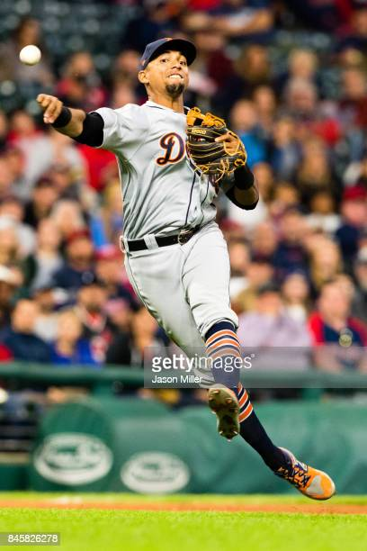 Shortstop Dixon Machado of the Detroit Tigers throws to first on a ground ball hit by Yan Gomes of the Cleveland Indians during the fifth inning at...