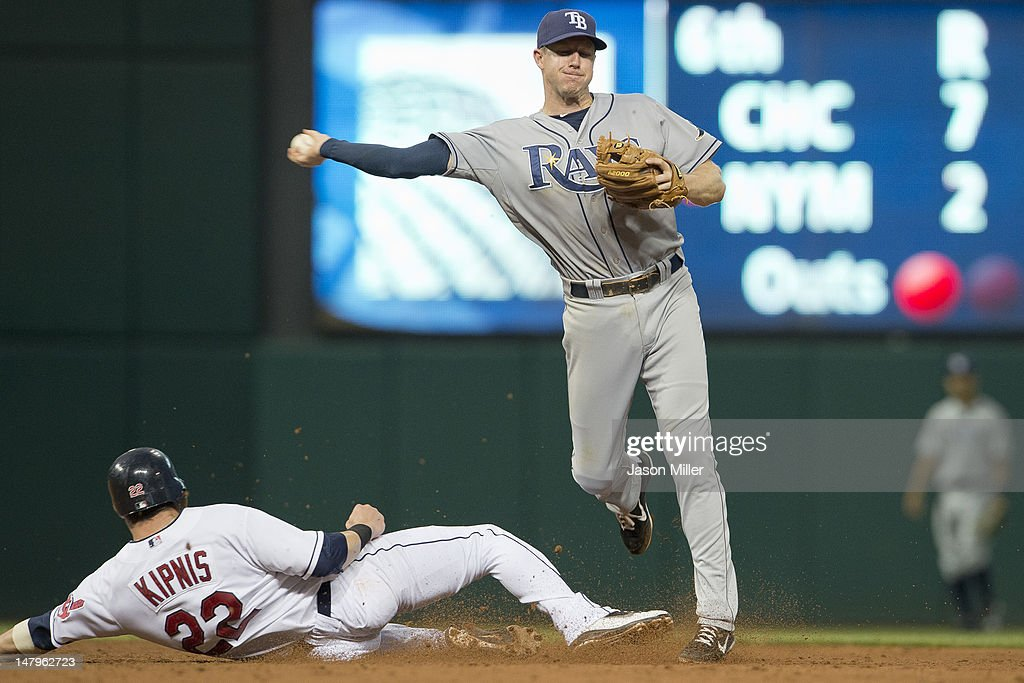 Shortstop <a gi-track='captionPersonalityLinkClicked' href=/galleries/search?phrase=Elliot+Johnson&family=editorial&specificpeople=4175454 ng-click='$event.stopPropagation()'>Elliot Johnson</a> #9 of the Tampa Bay Rays turns the double play as <a gi-track='captionPersonalityLinkClicked' href=/galleries/search?phrase=Jason+Kipnis&family=editorial&specificpeople=5330784 ng-click='$event.stopPropagation()'>Jason Kipnis</a> #22 of the Cleveland Indians is out at second base during the sixth inning at Progressive Field on July 6, 2012 in Cleveland, Ohio.