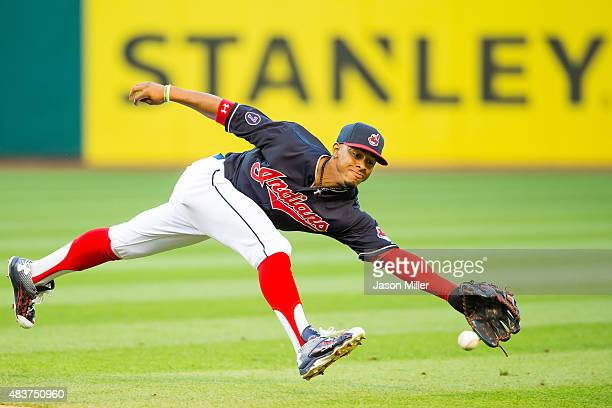 Shortstop Francisco Lindor of the Cleveland Indians can't get to a ground ball off the bat of Chase Headley of the New York Yankees during the third...