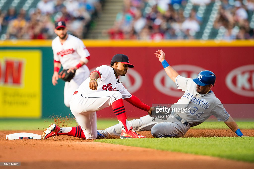Shortstop Francisco Lindor #12 of the Cleveland Indians tags out Reymond Fuentes #34 of the Kansas City Royals on a steal attempt to end the second inning at Progressive Field on June 2, 2016 in Cleveland, Ohio.
