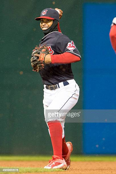 Shortstop Francisco Lindor of the Cleveland Indians throws out Jackie Bradley Jr #25 of the Boston Red Sox during the eighth inning at Progressive...