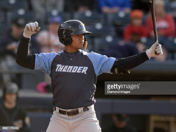 Shortstop Gleyber Torres of the Trenton Thunder bats during a game on April 12 2017 against the Akron Rubber Ducks at Canal Park in Akron Ohio...