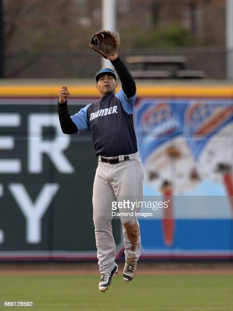 Shortstop Gleyber Torres of the Trenton Thunder leaps into the air to catch a ball during a game on April 12 2017 against the Akron Rubber Ducks at...