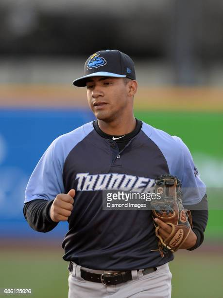 Shortstop Gleyber Torres of the Trenton Thunder runs off the field during a game on April 12 2017 against the Akron Rubber Ducks at Canal Park in...