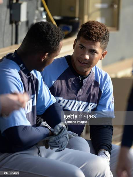 Shortstop Gleyber Torres of the Trenton Thunder sits in the dugout prior to a game on April 12 2017 against the Akron Rubber Ducks at Canal Park in...