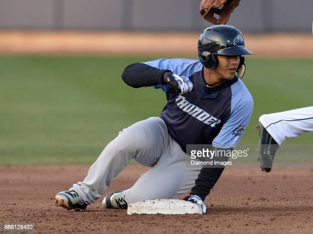 Shortstop Gleyber Torres of the Trenton Thunder slides into second base during a game on April 12 2017 against the Akron Rubber Ducks at Canal Park...