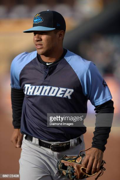 Shortstop Gleyber Torres of the Trenton Thunder walks toward the dugout prior to a game on April 12 2017 against the Akron Rubber Ducks at Canal Park...