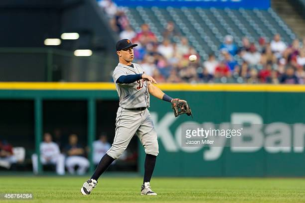 Shortstop Hernan Perez of the Detroit Tigers catches a fly ball hit by Michael Brantley of the Cleveland Indians during the first inning against the...