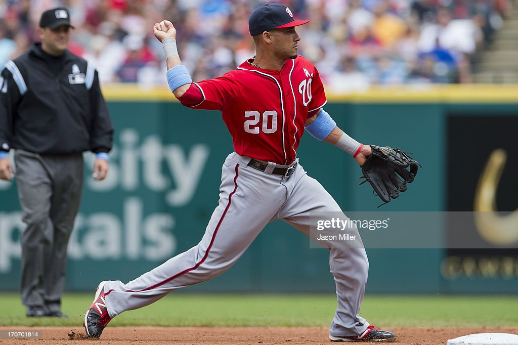 Shortstop <a gi-track='captionPersonalityLinkClicked' href=/galleries/search?phrase=Ian+Desmond&family=editorial&specificpeople=835572 ng-click='$event.stopPropagation()'>Ian Desmond</a> #20 of the Washington Nationals throws to first during the second inning against the Cleveland Indians at Progressive Field on June 16, 2013 in Cleveland, Ohio.