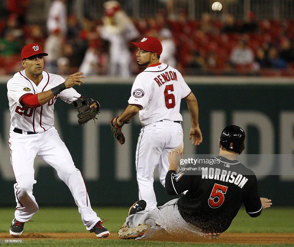 Shortstop <a gi-track='captionPersonalityLinkClicked' href=/galleries/search?phrase=Ian+Desmond&family=editorial&specificpeople=835572 ng-click='$event.stopPropagation()'>Ian Desmond</a> #20 of the Washington Nationals turns a double play with teammate <a gi-track='captionPersonalityLinkClicked' href=/galleries/search?phrase=Anthony+Rendon&family=editorial&specificpeople=7539238 ng-click='$event.stopPropagation()'>Anthony Rendon</a> #6 (C) over Logan Morrison #5 of the Miami Marlins in the seventh inning of game 2 of their day-night doubleheader at Nationals Park on September 22, 2013 in Washington, DC. Donovan Solano #17 of the Miami Marlins was out at first on the play.