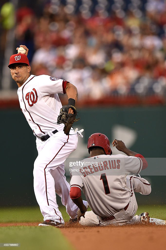 Shortstop <a gi-track='captionPersonalityLinkClicked' href=/galleries/search?phrase=Ian+Desmond&family=editorial&specificpeople=835572 ng-click='$event.stopPropagation()'>Ian Desmond</a> #20 of the Washington Nationals turns the double play as <a gi-track='captionPersonalityLinkClicked' href=/galleries/search?phrase=Didi+Gregorius&family=editorial&specificpeople=8945889 ng-click='$event.stopPropagation()'>Didi Gregorius</a> #1 of the Arizona Diamondbacks slides underneath him in the third inning at Nationals Park on August 18, 2014 in Washington, DC.