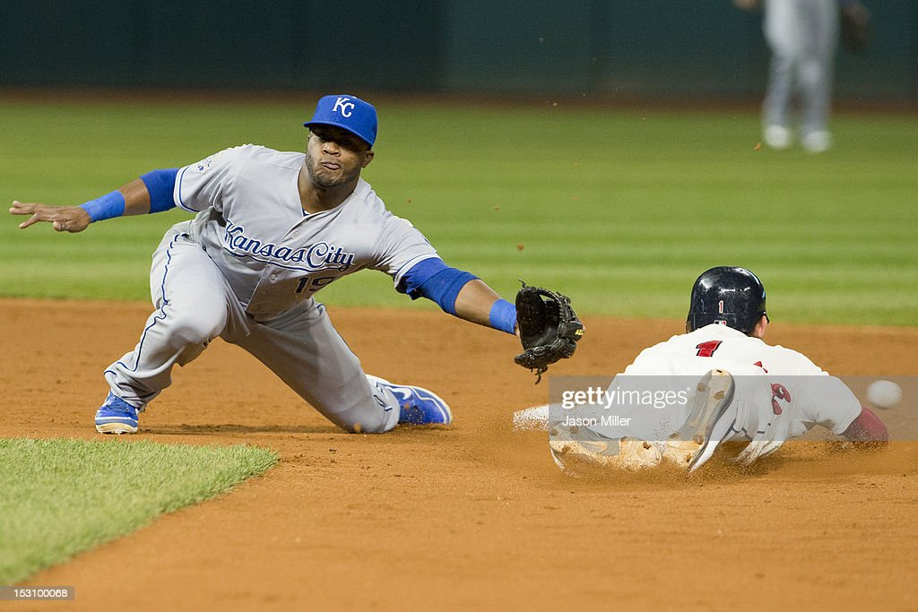 Shortstop Irving Falu #19 of the Kansas City Royals fails to catch the throw as <a gi-track='captionPersonalityLinkClicked' href=/galleries/search?phrase=Brent+Lillibridge&family=editorial&specificpeople=4164757 ng-click='$event.stopPropagation()'>Brent Lillibridge</a> #1 of the Cleveland Indians steals second during the second inning at Progressive Field on September 29, 2012 in Cleveland, Ohio.