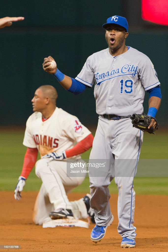 Shortstop Irving Falu #19 of the Kansas City Royals reacts as <a gi-track='captionPersonalityLinkClicked' href=/galleries/search?phrase=Ezequiel+Carrera&family=editorial&specificpeople=6778888 ng-click='$event.stopPropagation()'>Ezequiel Carrera</a> #12 of the Cleveland Indians is called safe at second during the sixth inning at Progressive Field on September 29, 2012 in Cleveland, Ohio.