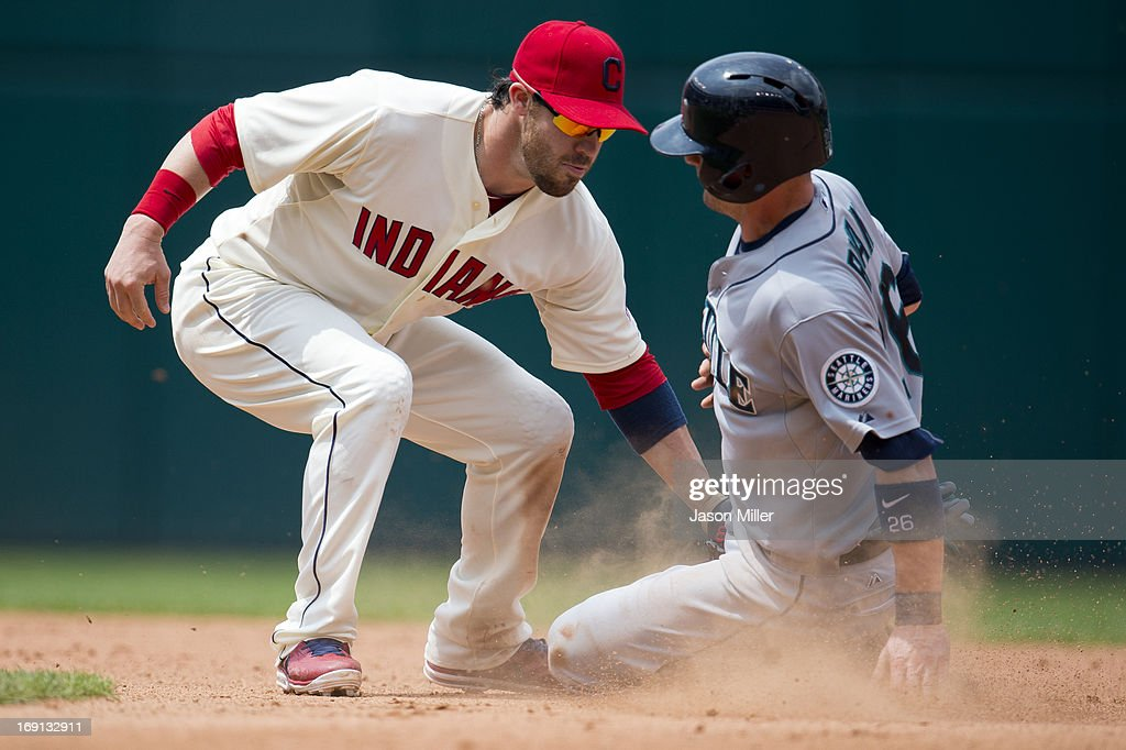 Shortstop <a gi-track='captionPersonalityLinkClicked' href=/galleries/search?phrase=Jason+Kipnis&family=editorial&specificpeople=5330784 ng-click='$event.stopPropagation()'>Jason Kipnis</a> #22 of the Cleveland Indians tags out Brendan Ryan #26 of the Seattle Mariners on an attempted steal during the seventh inning at Progressive Field on May 20, 2013 in Cleveland, Ohio.