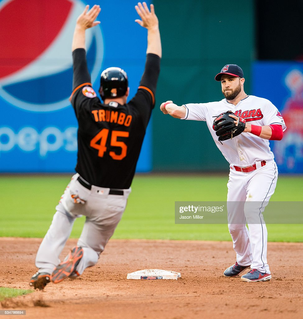 Shortstop <a gi-track='captionPersonalityLinkClicked' href=/galleries/search?phrase=Jason+Kipnis&family=editorial&specificpeople=5330784 ng-click='$event.stopPropagation()'>Jason Kipnis</a> #22 of the Cleveland Indians throws out Nolan Reimold #14 of the Baltimore Orioles at first as <a gi-track='captionPersonalityLinkClicked' href=/galleries/search?phrase=Mark+Trumbo&family=editorial&specificpeople=4921667 ng-click='$event.stopPropagation()'>Mark Trumbo</a> #45 is out at second for a double play during the third inning at Progressive Field on May 27, 2016 in Cleveland, Ohio.
