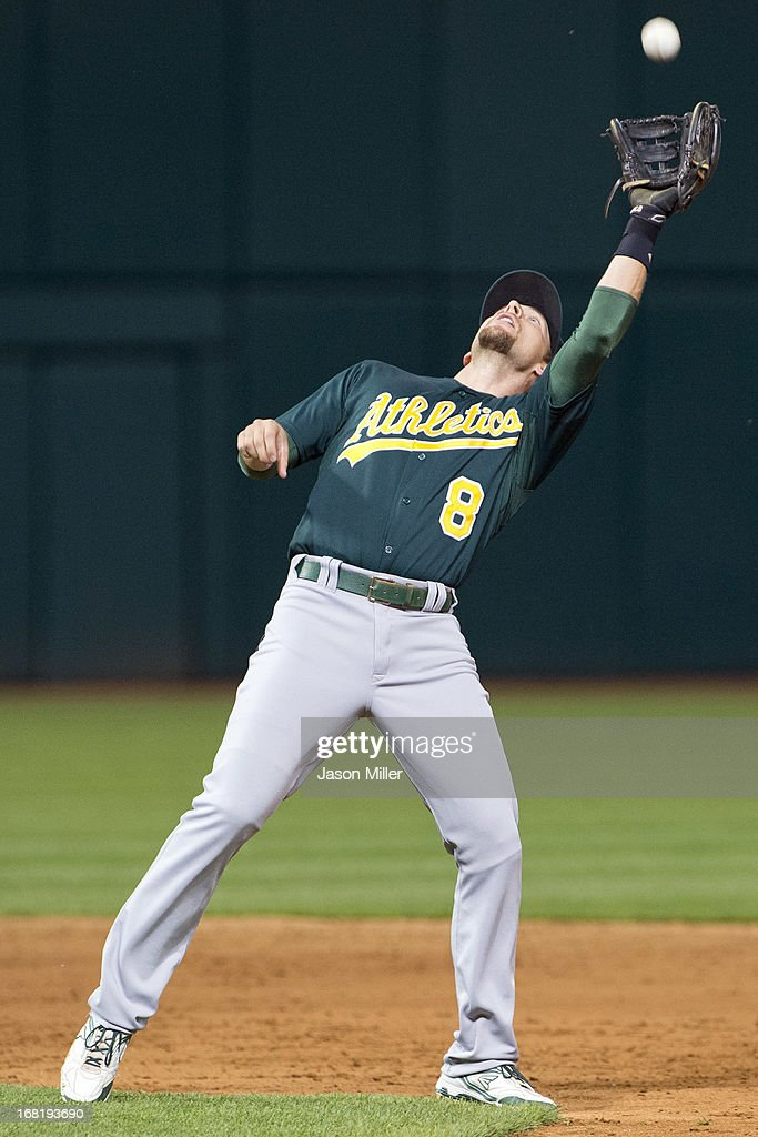 Shortstop <a gi-track='captionPersonalityLinkClicked' href=/galleries/search?phrase=Jed+Lowrie&family=editorial&specificpeople=4949369 ng-click='$event.stopPropagation()'>Jed Lowrie</a> #8 of the Oakland Athletics catches a fly ball hit by Ryan Raburn #9 of the Cleveland Indians during the sixth inning at Progressive Field on May 6, 2013 in Cleveland, Ohio.