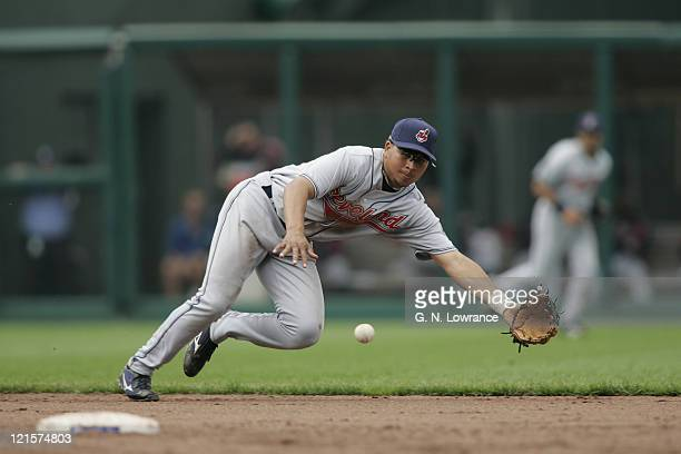 Shortstop Jhonny Peralta of the Cleveland Indians in action against the Kansas City Royals on April 19 2005 at Kauffman Stadium in Kansas City Mo The...