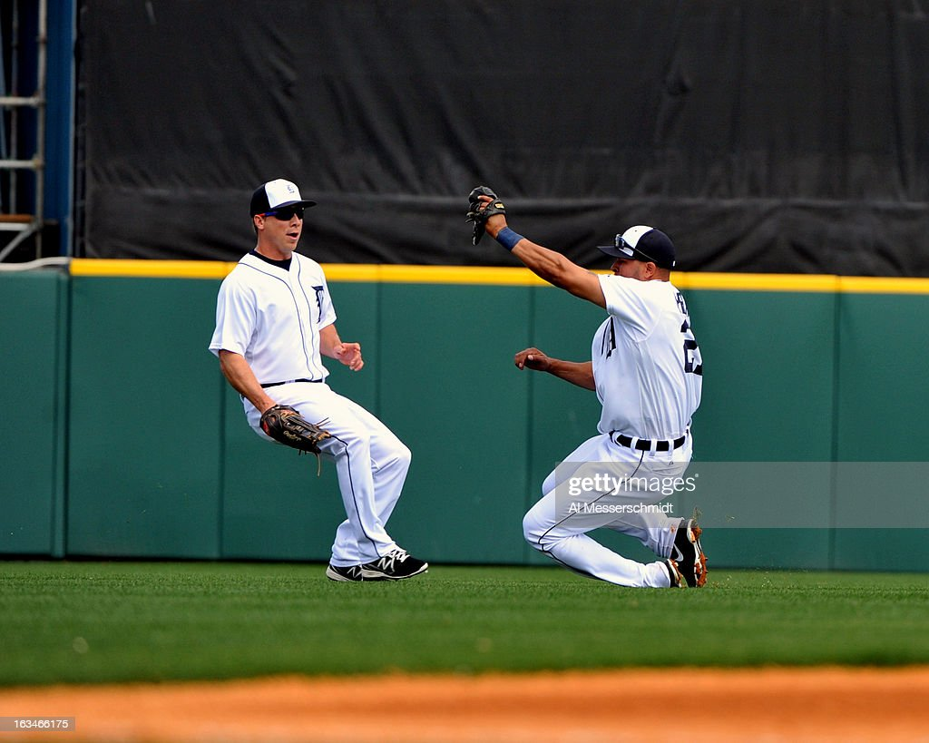 Shortstop <a gi-track='captionPersonalityLinkClicked' href=/galleries/search?phrase=Jhonny+Peralta&family=editorial&specificpeople=213286 ng-click='$event.stopPropagation()'>Jhonny Peralta</a> #27 of the Detroit Tigers grabs a ball in left field against the Washington Nationals March 10, 2013 at Joker Marchant Stadium in Lakeland, Florida.