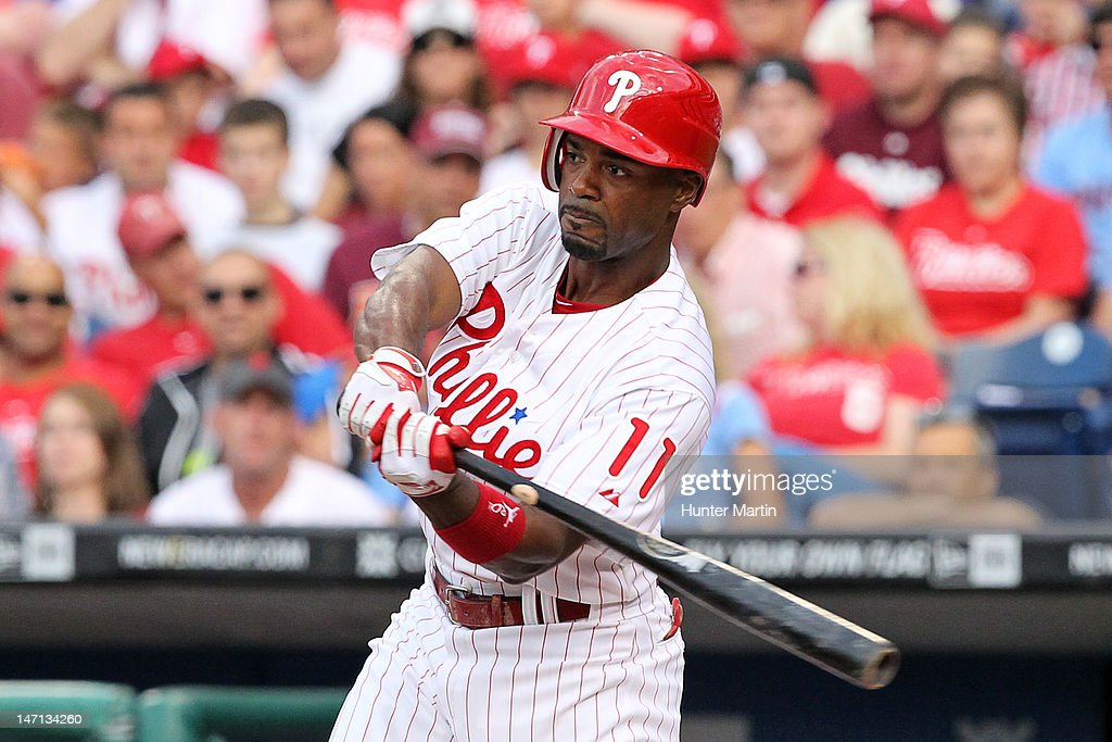 Shortstop <a gi-track='captionPersonalityLinkClicked' href=/galleries/search?phrase=Jimmy+Rollins&family=editorial&specificpeople=204478 ng-click='$event.stopPropagation()'>Jimmy Rollins</a> #11 of the Philadelphia Phillies bats during a game against the Pittsburgh Pirates at Citizens Bank Park on June 25, 2012 in Philadelphia, Pennsylvania. The Phillies won 8-3.